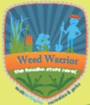 weed warrior logo shows a volunteer with a landscaping tool in a garden