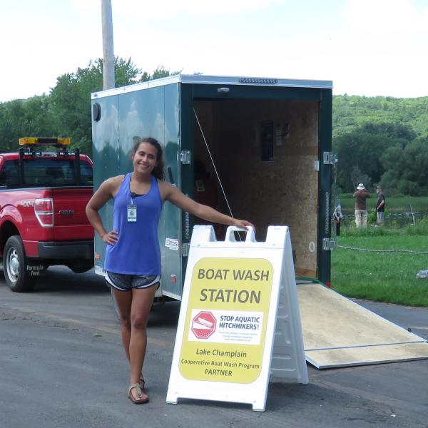 A public access greeter with a watercraft decontamination station